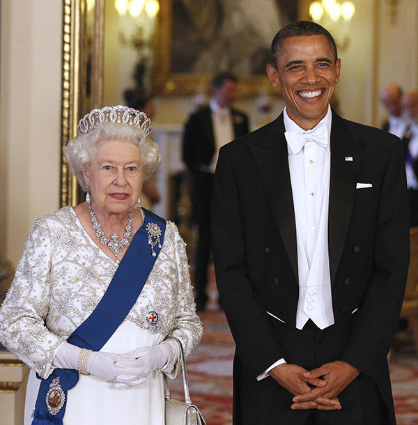 "<div class=""meta image-caption""><div class=""origin-logo origin-image none""><span>none</span></div><span class=""caption-text"">President Barack Obama and Queen Elizabeth II pose for photographers prior to a dinner hosted by the queen, Tuesday, May 24, 2011, at Buckingham Palace in London. (AP Photo/ Larry Downing)</span></div>"