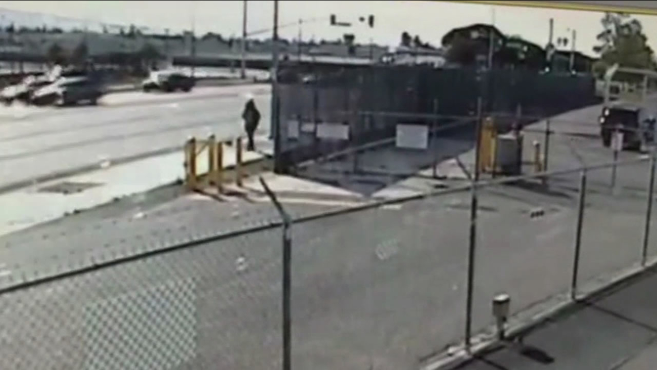Officials say this image from surveillance video shows 20-year-old Deanna Predoehl trespassing at Mineta San Jose International Airport in San Jose, Calif. on March 31, 2015.