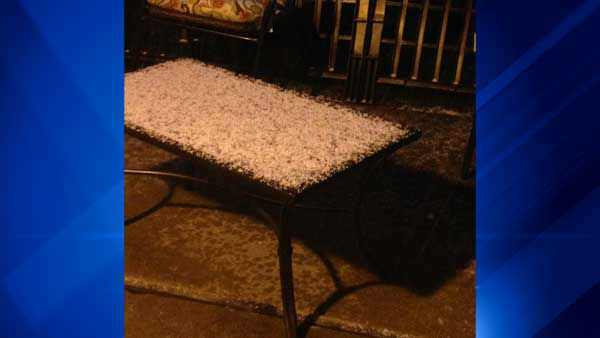 "<div class=""meta image-caption""><div class=""origin-logo origin-image none""><span>none</span></div><span class=""caption-text"">An ABC7 Chicago viewer named Jan submitted a photo of hail in Arlington Heights. (WLS Photo)</span></div>"