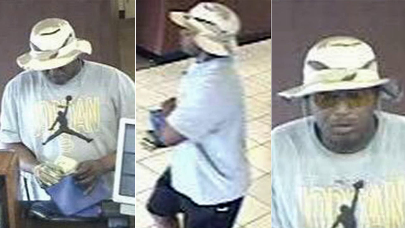 Surveillance images show a suspect wanted for allegedly robbing a Chase bank in Mission Viejo on Tuesday, April 21, 2015.