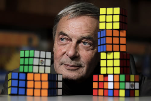 "<div class=""meta image-caption""><div class=""origin-logo origin-image ""><span></span></div><span class=""caption-text"">Erno Rubik, the inventor of the Rubik's Cube, poses for The Associated Press at Liberty Science Center, Wednesday, April 25, 2012, in Jersey City, N.J. (AP Photo/Julio Cortez)</span></div>"