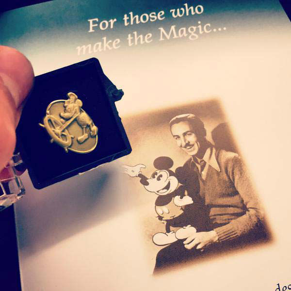 """<div class=""""meta image-caption""""><div class=""""origin-logo origin-image none""""><span>none</span></div><span class=""""caption-text"""">Steve Campion had his one year anniversary and earned this Disney pin (KTRK Photo)</span></div>"""