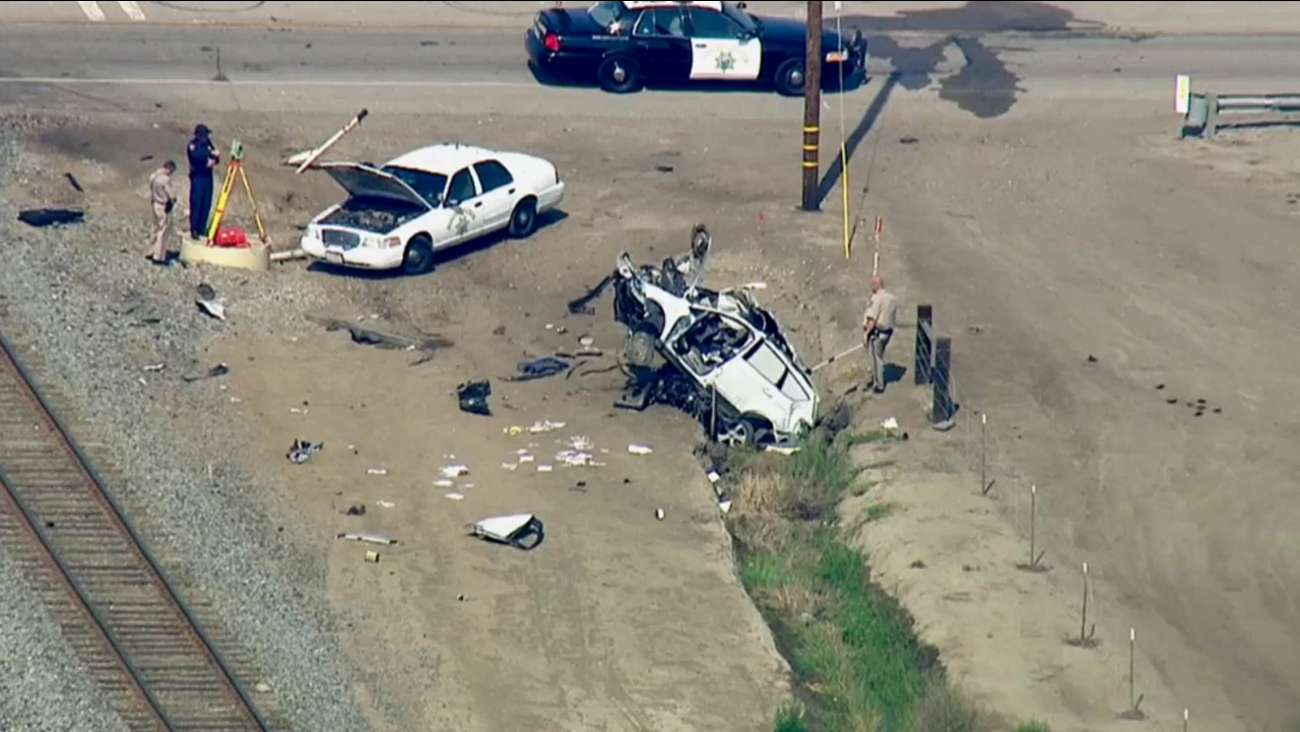 Authorities respond after a train struck a minivan and killed one person in Camarillo on Thursday, April 23, 2015.