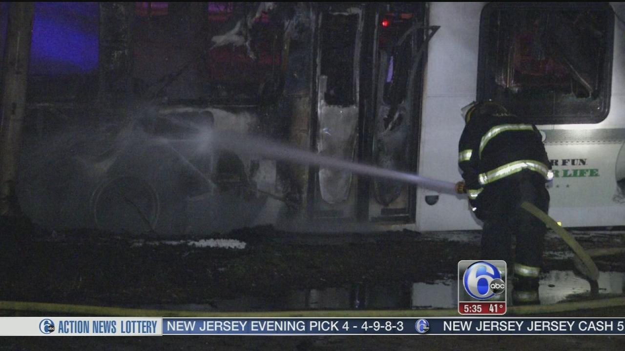 VIDEO: Flames damage SEPTA bus in South Philadelphia