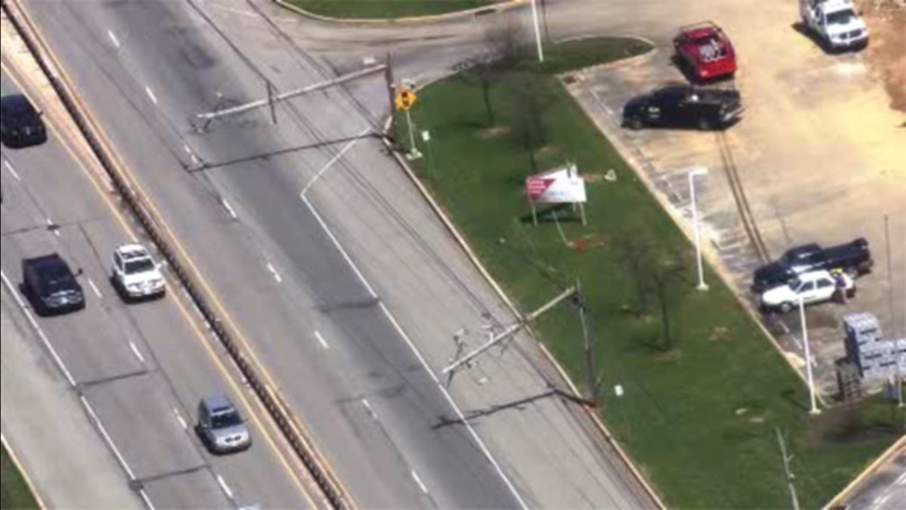 Truck takes down several poles on Rt. 202 in Chester Co.