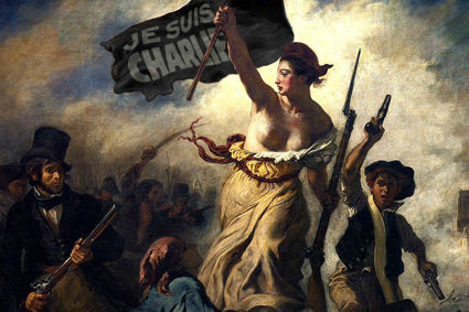 <div class='meta'><div class='origin-logo' data-origin='none'></div><span class='caption-text' data-credit='Photo/Benedicte Lacroix'>A makeover of ''Liberty Leading the People'' by Eugene Delacroix following the terror attacks on the French magazine Charlie Hebdo</span></div>