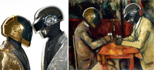 <div class='meta'><div class='origin-logo' data-origin='none'></div><span class='caption-text' data-credit='Photo/Benedicte Lacroix'>Daft Punk in ''Card Players'' by Paul Cezanne</span></div>
