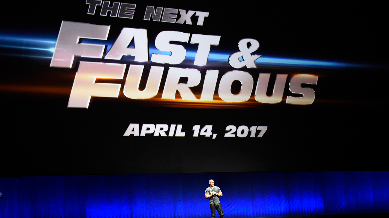 Vin Diesel announces a forthcoming eighth installment in the 'The Fast and the Furious' movie franchise during the Universal Pictures presentation at CinemaCon 2015 at Caesars Palace on Thursday, April 23, 2015, in Las Vegas.