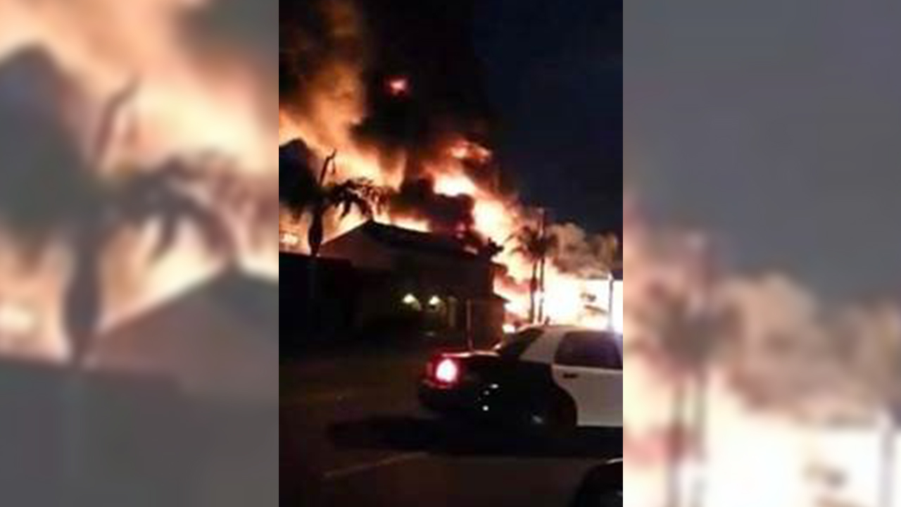 A tire shop broke out in flames in South El Monte on Saturday, April 25, 2015.