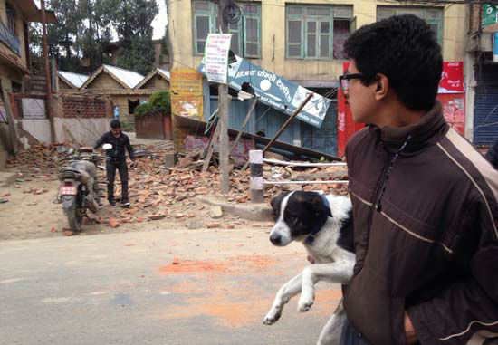 "<div class=""meta image-caption""><div class=""origin-logo origin-image none""><span>none</span></div><span class=""caption-text"">A man carries a dog and walks past damage caused by an earthquake in Kathmandu, Nepal (AP Photo/ Niranjan Shrestha)</span></div>"