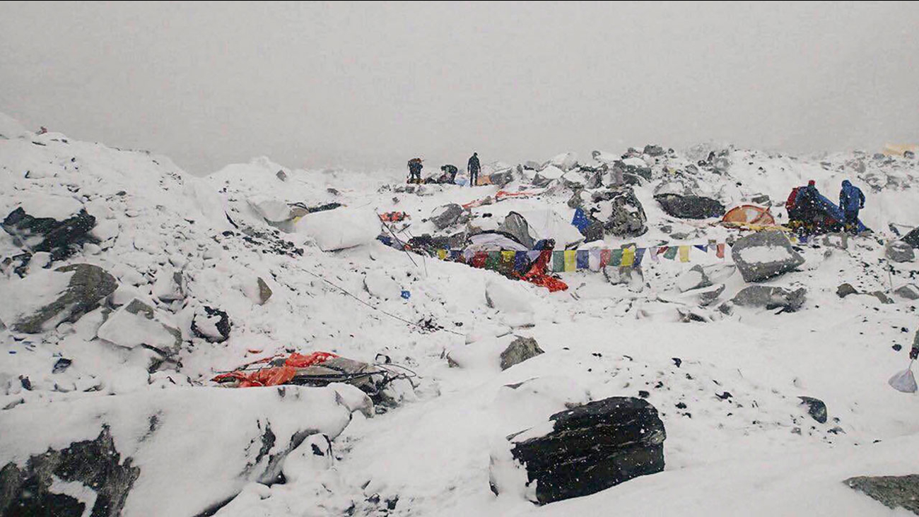 This photo provided by Azim Afif shows the scene after an avalanche triggered by a massive earthquake swept across Everest Base Camp, Nepal on Saturday, April 25, 2015.