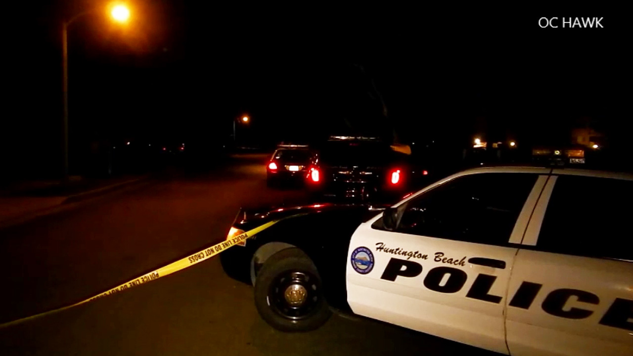 An investigation is underway near Edgewater Lane and Courtney Drive in Huntington Beach following a pursuit and an officer-involved shooting Sunday, April 26, 2015.