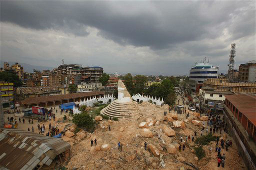"<div class=""meta image-caption""><div class=""origin-logo origin-image none""><span>none</span></div><span class=""caption-text"">One of the Kathmandu 's landmark Bhimsen tower is seen in rubbles after it was damaged in Saturday's earthquake, in Kathmandu, Nepal. (AP Photo/Niranjan Shrestha) (AP Photo/ Niranjan Shrestha)</span></div>"