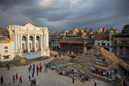 "<div class=""meta image-caption""><div class=""origin-logo origin-image none""><span>none</span></div><span class=""caption-text"">A general view of the Basantapur Durbar Square that was damaged in Saturday's earthquake in Kathmandu, Nepal.(AP Photo/Bernat Armangue) (AP Photo/ Bernat Armangue)</span></div>"