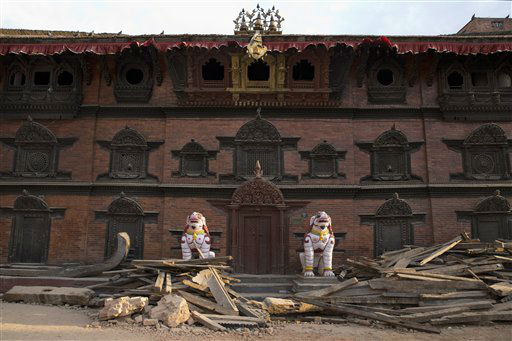 "<div class=""meta image-caption""><div class=""origin-logo origin-image none""><span>none</span></div><span class=""caption-text"">Rubble from damage caused by Saturday's earthquake lie in front of an old building at Basantapur Durbar Square in Kathmandu, Nepal. (AP Photo/Bernat Armangue) (AP Photo/ Bernat Armangue)</span></div>"