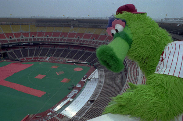 "<div class=""meta image-caption""><div class=""origin-logo origin-image none""><span>none</span></div><span class=""caption-text"">The Phillie Phanatic, mascot of the Philadelphia Phillies, poses at its perch atop Philadelphia's Veterans Stadium April 8, 1991. (AP Photo/ GEORGE WIDMAN)</span></div>"