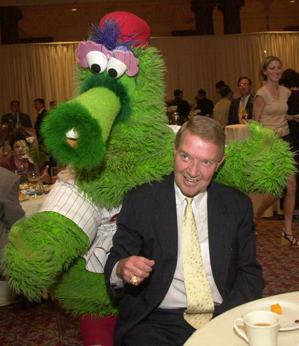 "<div class=""meta image-caption""><div class=""origin-logo origin-image none""><span>none</span></div><span class=""caption-text"">Harry Kalas, longtime broadcaster of the Philadelphia Phillies, is greeted by the Phillie Phanatic Wednesday, June 19, 2002. (AP Photo/ DAN LOH)</span></div>"