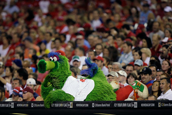 "<div class=""meta image-caption""><div class=""origin-logo origin-image none""><span>none</span></div><span class=""caption-text"">The Philadelphia Phanatic watches a ball game from on-top of the Phillies dugout during a baseball game against the Colorado Rockies, Friday, Sept. 7, 2012, in Philadelphia. (AP Photo/ Matt Slocum)</span></div>"
