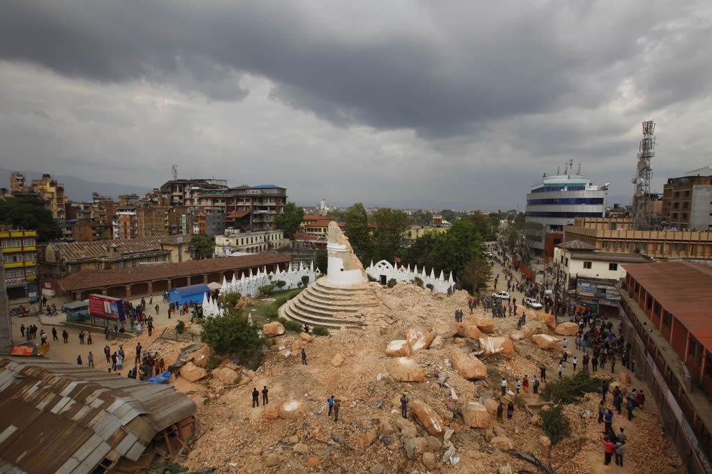"<div class=""meta image-caption""><div class=""origin-logo origin-image none""><span>none</span></div><span class=""caption-text"">One of the Kathmandu 's landmark Bhimsen tower is seen in rubbles after it was damaged in Saturday's earthquake, in Kathmandu, Nepal, Sunday, April 26, 2015. (AP Photo/Niranjan Shrestha)</span></div>"