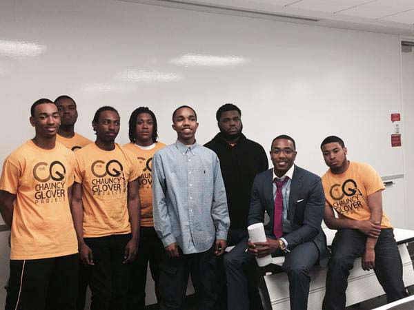 """<div class=""""meta image-caption""""><div class=""""origin-logo origin-image none""""><span>none</span></div><span class=""""caption-text"""">Chauncy in Detroit with boys in the Chauncy Glover Project (KTRK Photo)</span></div>"""
