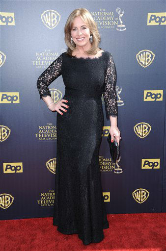 "<div class=""meta image-caption""><div class=""origin-logo origin-image none""><span>none</span></div><span class=""caption-text"">Genie Francis arrives at the 42nd annual Daytime Emmy Awards at Warner Bros. Studios on Sunday, April 26, 2015, in Burbank, Calif. (Photo by Richard Shotwell/Invision/AP) (AP Photo)</span></div>"
