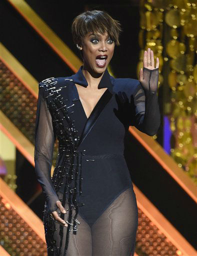 "<div class=""meta image-caption""><div class=""origin-logo origin-image none""><span>none</span></div><span class=""caption-text"">Host Tyra Banks speaks at the 42nd annual Daytime Emmy Awards at Warner Bros. Studios on Sunday, April 26, 2015, in Burbank, Calif. (Photo by Chris Pizzello/Invision/AP) (AP Photo/ Chris Pizzello)</span></div>"