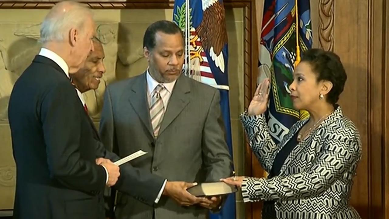 Loretta Lynch was sworn-in as U.S. Attorney General Monday by Vice President Joe Biden.