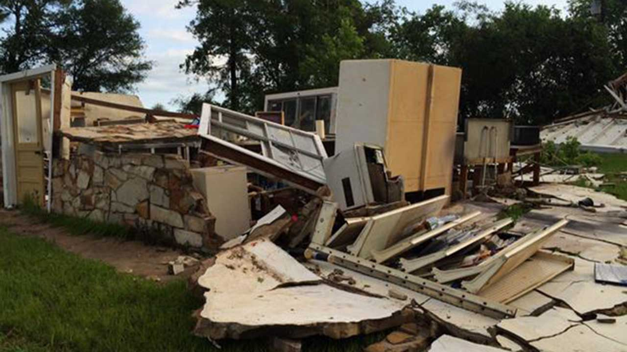Storms tear apart buildings in Grimes County