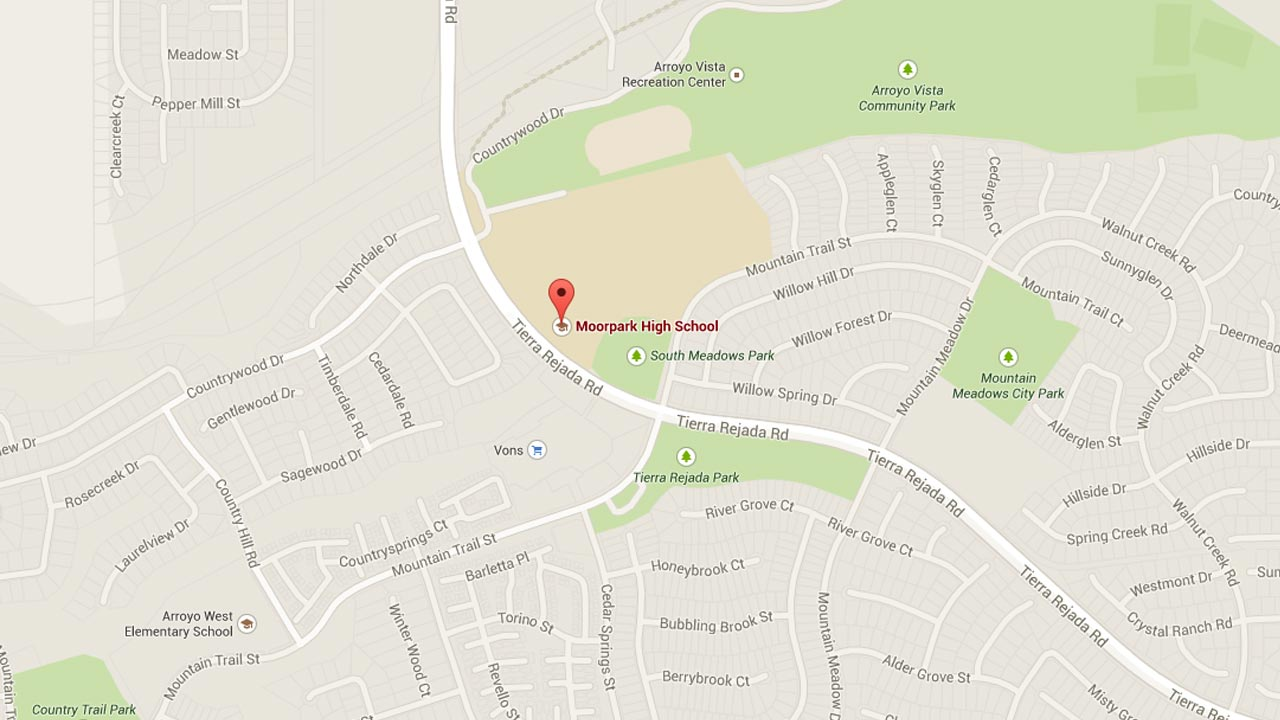 This Google Maps image shows the location of Moorpark High School.