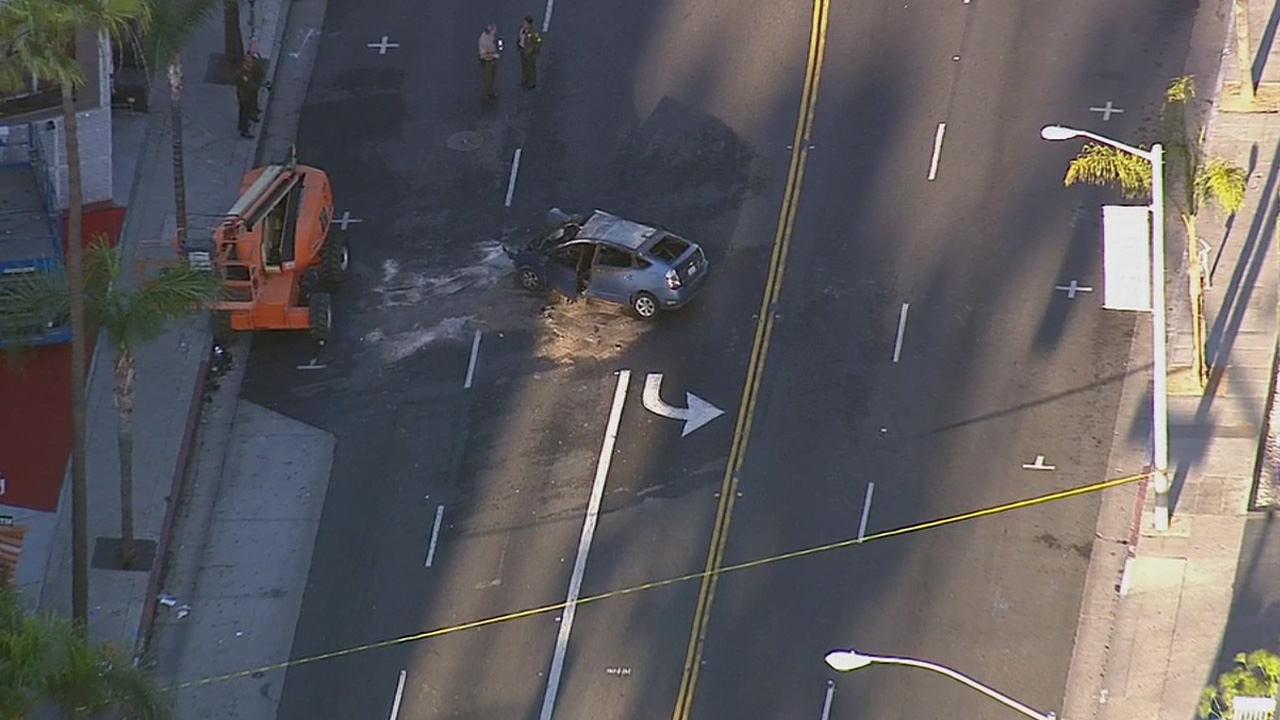 A man was killed after crashing his vehicle into a crane on Sunset Boulevard in West Hollywood Monday, April 27, 2015.