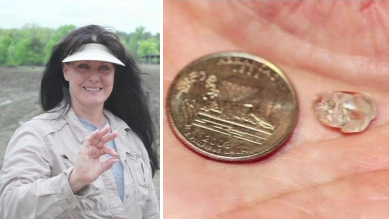 Susie Clark uncovered a rare diamond at Crater of Diamonds State Park in Murfreesboro, Arkansas on April 23, 2015.