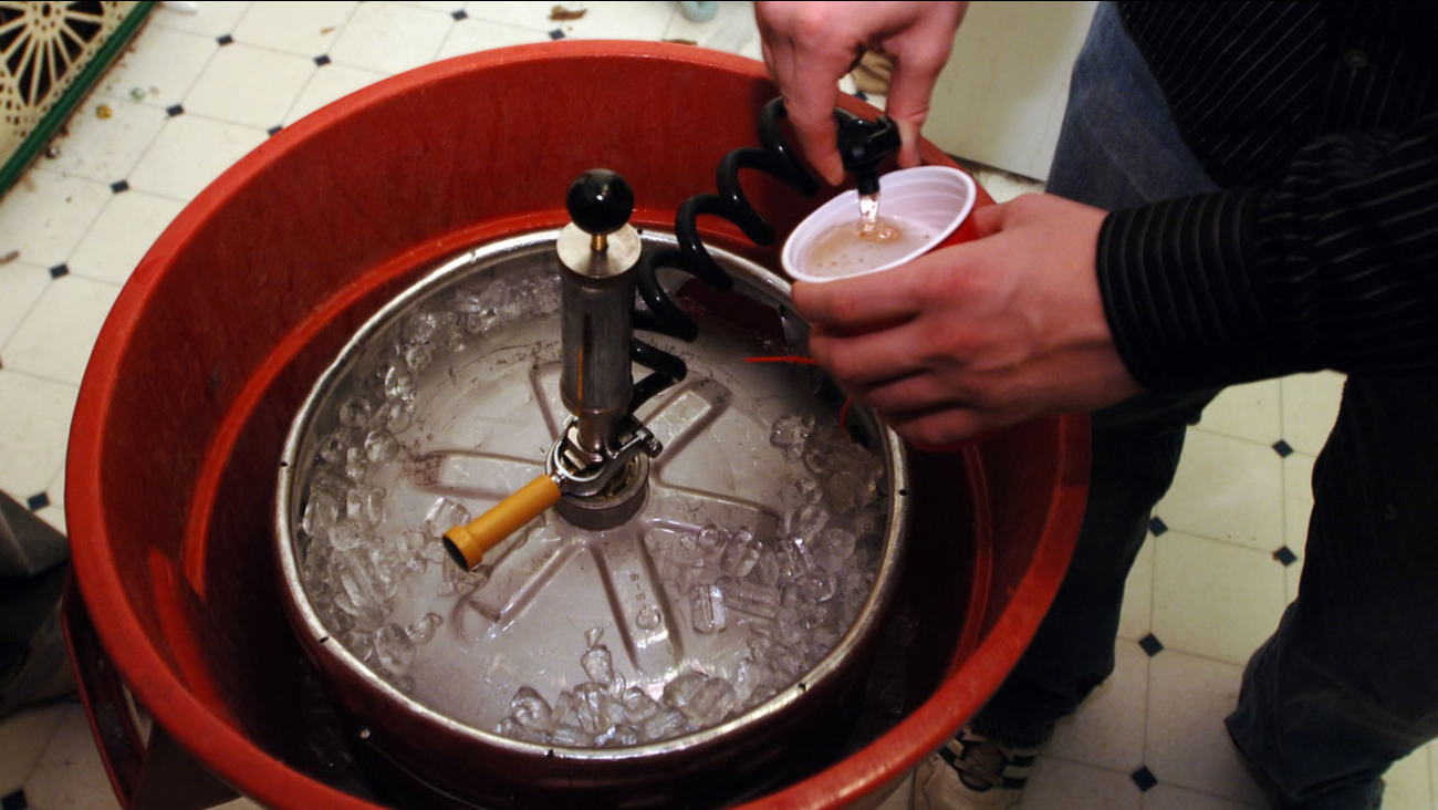 A plastic cup is filled with beer from a keg Nov. 12, 2005, during a party near the University of Missouri campus in Columbia, Mo.  (AP Photo/L.G. Patterson)