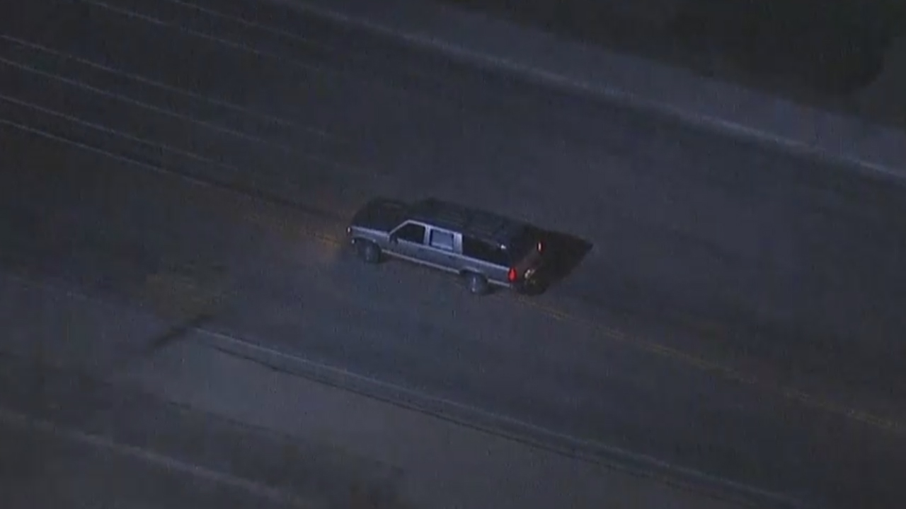 A grey Chevrolet Suburban led California Highway Patrol officers in a high-speed pursuit on Monday, April 27, 2015.