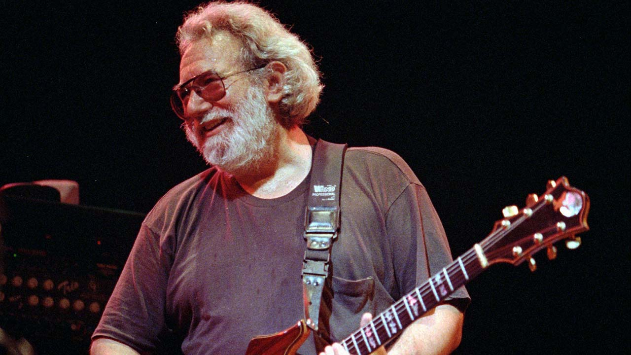 Grateful Dead lead singer Jerry Garcia performs at the Oakland , Calif., Coliseum in this Nov. 1, 1992 file photo.