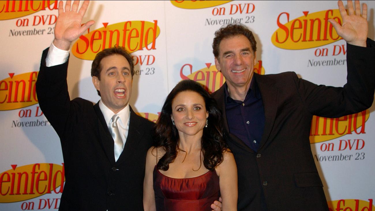 Jerry Seinfeld, left, Julia Louis-Dreyfus and Michael Richards