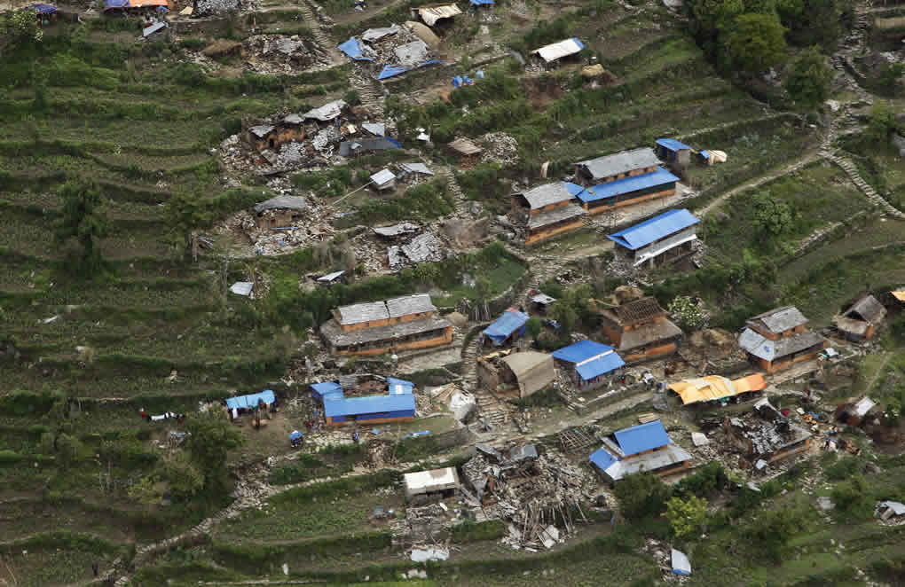 """<div class=""""meta image-caption""""><div class=""""origin-logo origin-image none""""><span>none</span></div><span class=""""caption-text"""">Destroyed villages sit on mountain tops near the epicenter of Saturday's massive earthquake, in the Gorkha District of Nepal, Wednesday, April 29, 2015. (AP Photo/Wally Santana)</span></div>"""