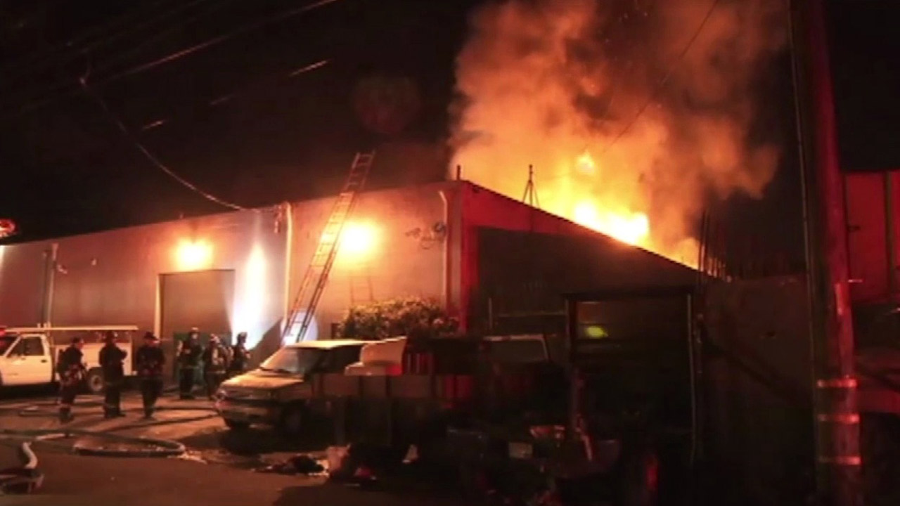 Oakland firefighters battled a fire at warehouse, Thursday, April 30, 2015.