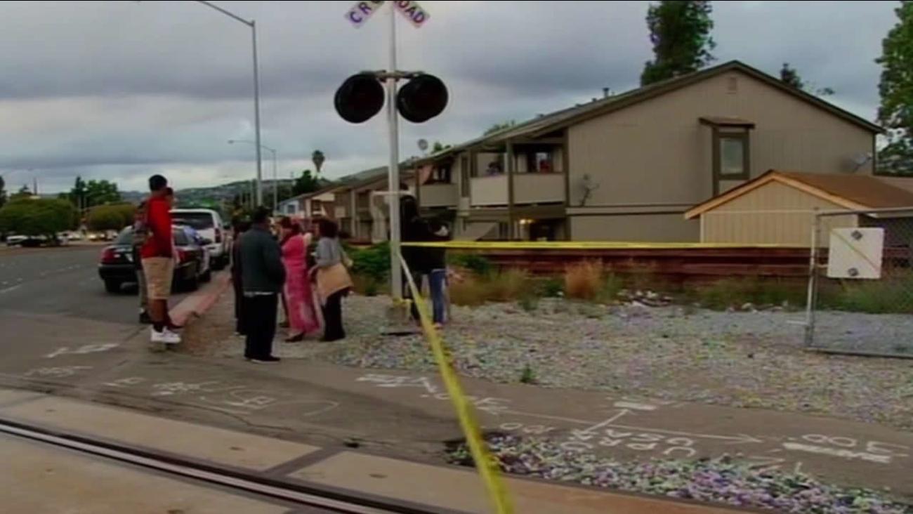 train accident scene at Hesperian Boulevard and Springlake Drive