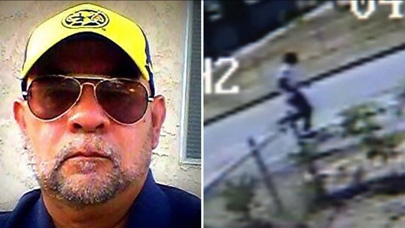 Armando Barron, 54, is shown above in an undated photo alongside surveillance footage of the man who attacked him with a bat on Sunday, April 26, 2015.