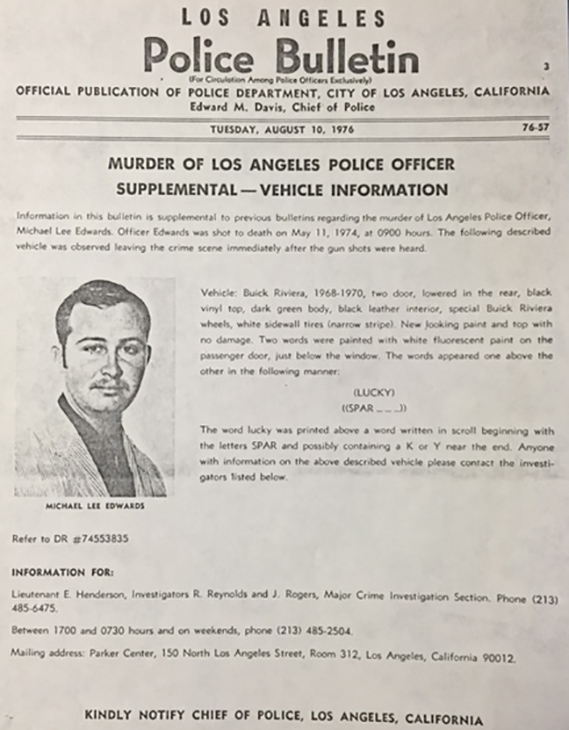 "<div class=""meta image-caption""><div class=""origin-logo origin-image none""><span>none</span></div><span class=""caption-text"">This Los Angeles Police Bulletin from August 10, 1976, announces a new tip in Edwards' murder case - a vehicle seen leaving the crime scene immediately after gun shots were heard. (KABC)</span></div>"