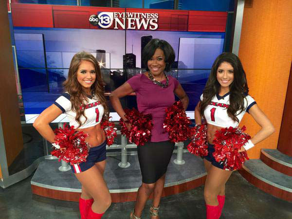 """<div class=""""meta image-caption""""><div class=""""origin-logo origin-image none""""><span>none</span></div><span class=""""caption-text"""">The Texans Cheerleaders stopped by the set for Draft Day (KTRK Photo)</span></div>"""
