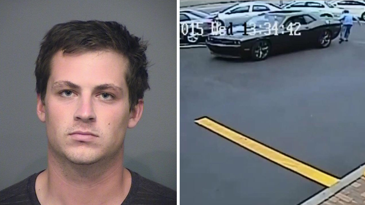 Taylor Kirby, 24, of Signal Hill is shown in a booking photo alongside surveillance footage of him allegedly backing his car over an elderly woman on Wednesday, April 20, 2015.