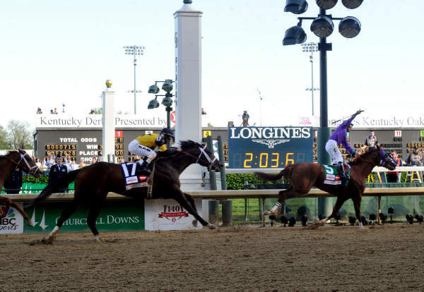 "<div class=""meta image-caption""><div class=""origin-logo origin-image ""><span></span></div><span class=""caption-text"">California Chrome, ridden by jockey Victor Espinoza, celebrates as he wins the 140th Kentucky Derby, Saturday, May 3, 2014. (Photo/Diane Bondareff)</span></div>"