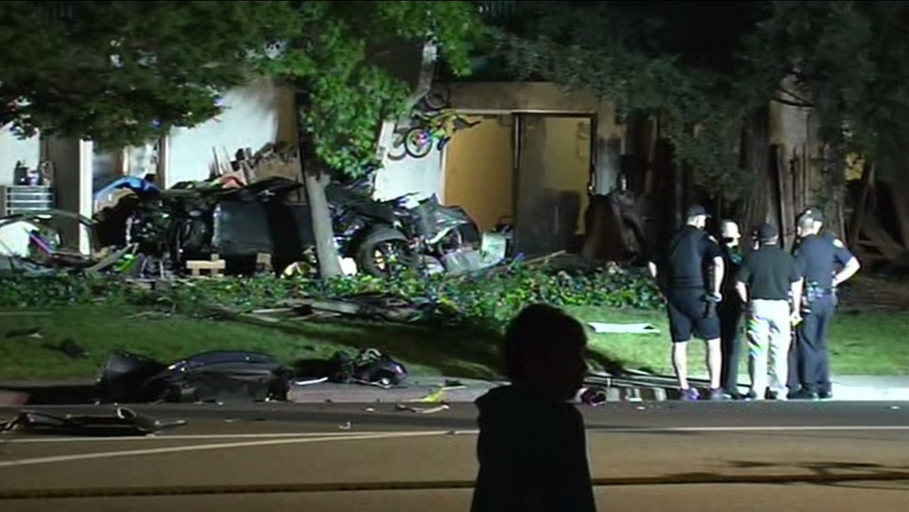 A mother and child were killed when an alleged drunk driver crashed into the backyard of an apartment complex in Livermore, Calif. on May 2, 2015.