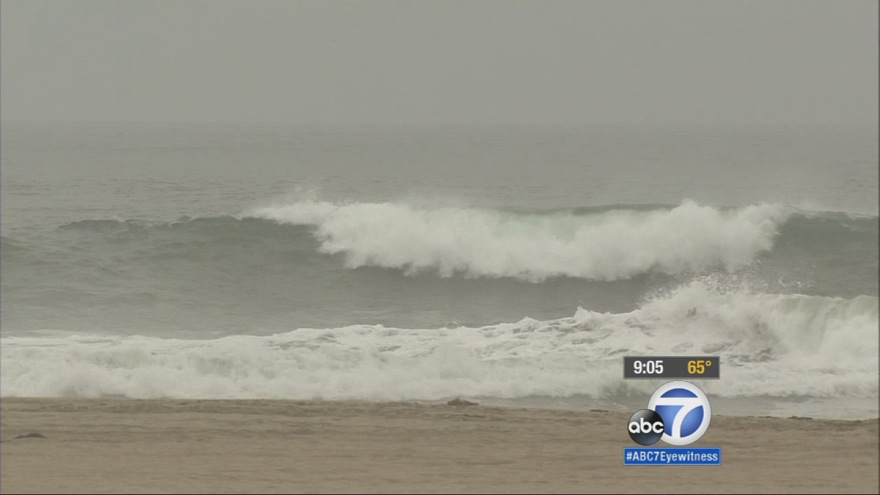 A high surf warning is in effect at Malibu, Long Beach and Orange County beaches, which means dangerous rip currents and possible sneaker waves.