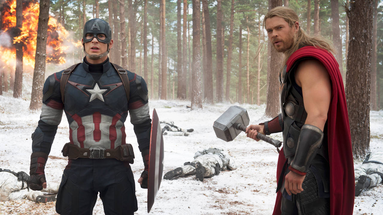 Chris Evans, left, as Captain America/Steve Rogers, and Chris Hemsworth as Thor, in a scene of the new film, 'Avengers: Age Of Ultron.'