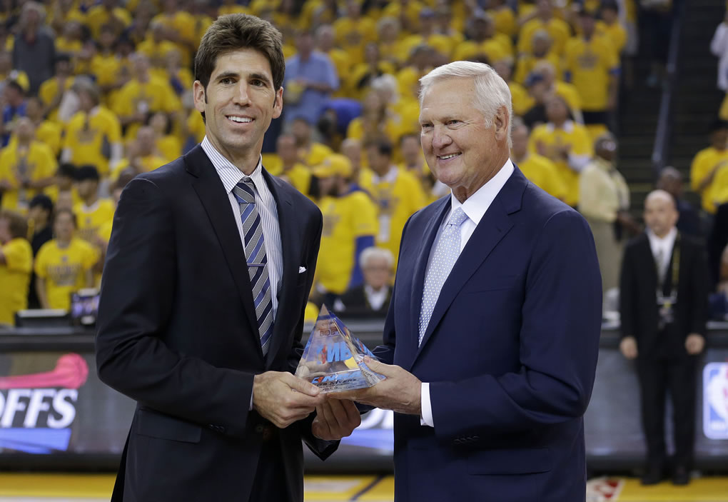 """<div class=""""meta image-caption""""><div class=""""origin-logo origin-image none""""><span>none</span></div><span class=""""caption-text"""">Golden State Warriors general manger Bob Myers is presented the NBA Executive of the Year award by Warriors' executive board member Jerry West in Oakland, Calif., May 3, 2015. (AP Photo/Marcio Jose Sanchez)</span></div>"""