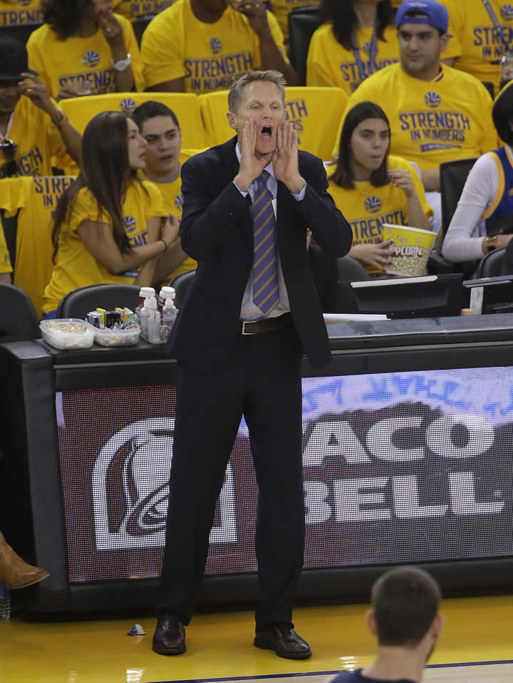 """<div class=""""meta image-caption""""><div class=""""origin-logo origin-image none""""><span>none</span></div><span class=""""caption-text"""">Golden State Warriors head coach Steve Kerr yells during a second-round NBA playoff series against the Memphis Grizzlies in Oakland, Calif., May 3, 2015. (AP Photo/Jeff Chiu)</span></div>"""
