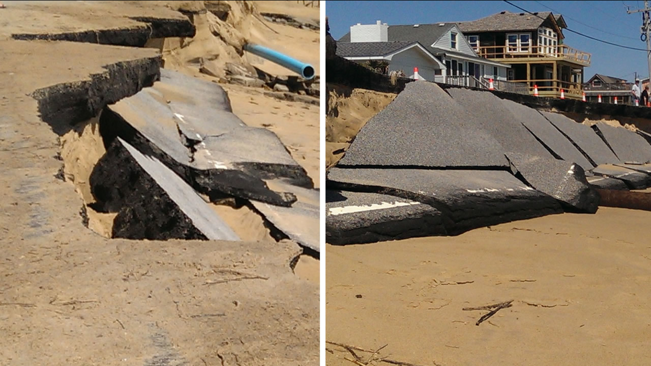 High surf and large waves combined to take out the beach road at Mile Post 4 in Kitty Hawk (images courtesy Sam Walker/Outer Banks Voice)