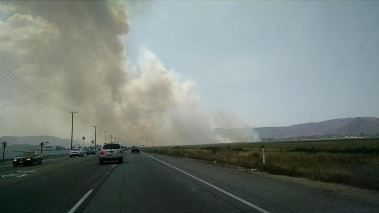A 10-acre brush fire broke out in Hemet Friday and the smoke was captured in this photo by ABC7 viewer Cynthia Edwards on Monday, May 4, 2015.